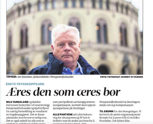 Faksimile av Jan Davidsens leserinnlegg i Agder.