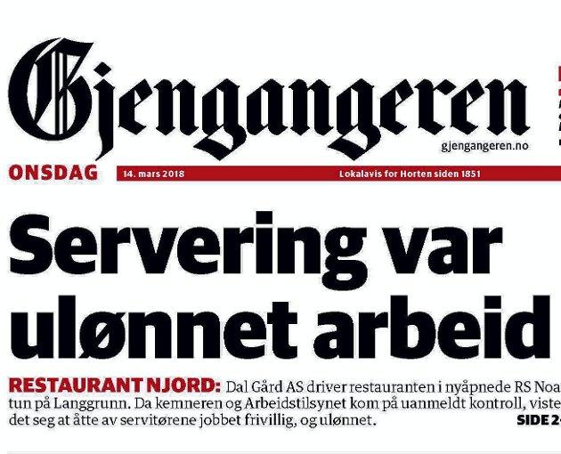 Faksimile: Gjengangeren 14. mars 2018.
