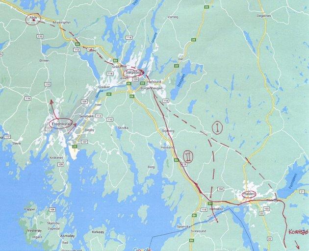 Knut Bye ønsker at jernbane langs eller på raryggen skal være framtidens løsning for en ny jernbane gjennom Østfold. Kartet viser alternativet på raryggen nord for Sarpsborg og to alternativer sør for Sarpsborg.