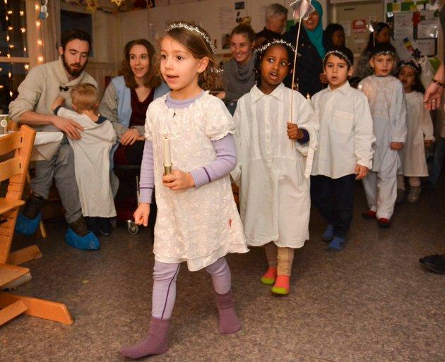 Luciadagen ble feiret i Kalstad barnehage.