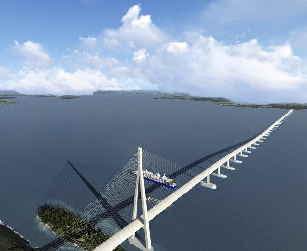 Politikerne gjør lurt i å følge flertallet i BA-undersøkelsen om bro over Bjørnafjorden - og skrote hele gigantprosjektet. Illustrasjon: Statens vegvesen