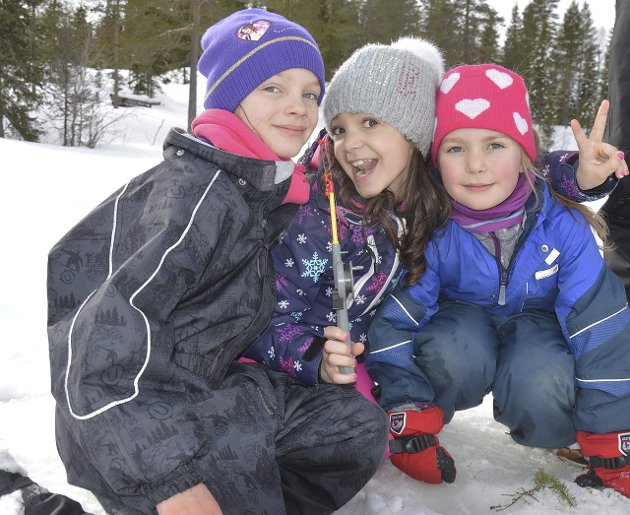 FREDHEIM SKOLE: Julie Jacobsen, Ariana Behrani og Tuva Løvstuhagen Grønli pilker.