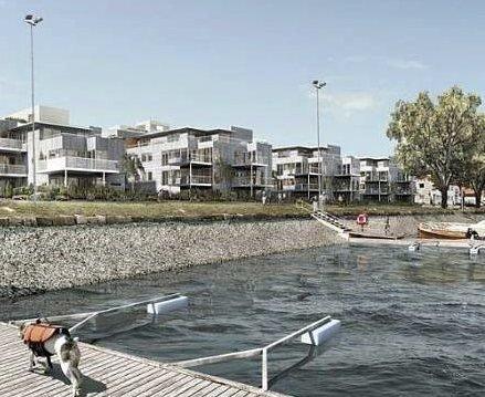 Positive prosjekter: Innsenderne mener man bør se til de flere positive prosjektene som har blitt bygget langs Oslofjorden. Her fra Moss.Foto: Moss avis. Boligblokker på Jeløya i Moss (sjøbadet park)