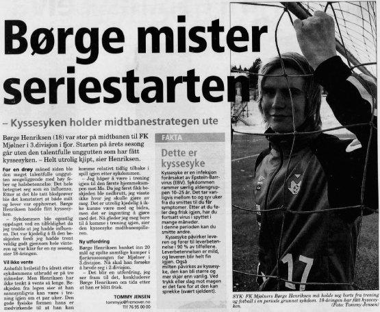 Fremover 11. april 2007: Mjølners Børge Henriksen hadde en påske preget av sykdom.