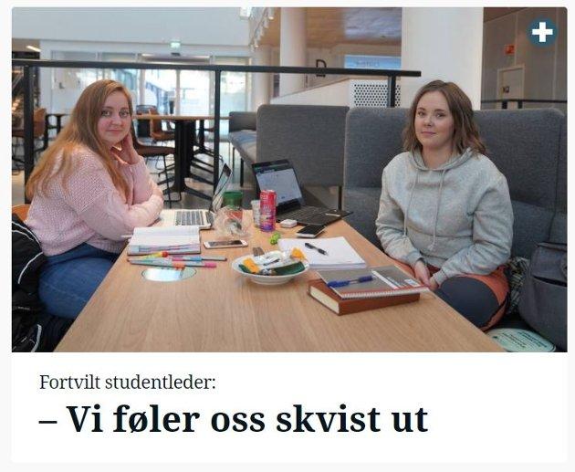 Ida Marie Persen og Sunniva Sørensen er oppgitt over hvordan denne saken ble presentert på Steinkjer24.no