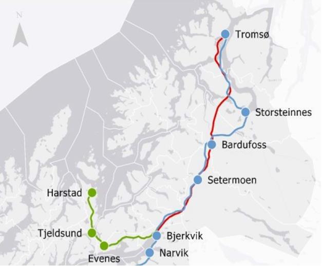 Kartskisse 1 hentet fra utredningen juli 2019. Blå og rød linje er Jernbanedirektoratets 2 alternative korridorer.