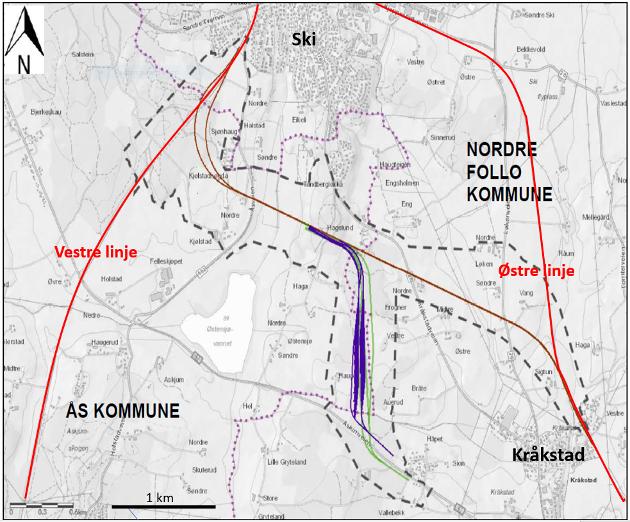 Bane Nors forslag: Avgrening fra Vestre linje (brunt), togparkering sør for Hagelund (mørklilla, grønt). Østfoldbanen i dag (rødt). Programområde (stiplet svart linje).