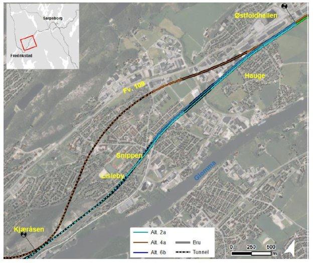 Tunnel vurderes også gjennom Lisleby: Jernbanen skal enten følge den lyseblå trasé 2a, gjennom Lisleby, eller følge den brune trasé 4a, med lang tunnel til Gamle Glemmen kirke og bru gjennom Dikeveien. Begge skal utredes. (Illustrasjon: Bane NOR og Lill Mostad)