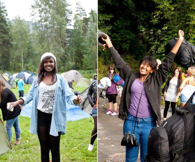 Fra venstre: Mona Abdinur på teltplassen, og Amal Abdinur på kaia på vei over til Utøya. Mona Abdinur ble drept i terrorangrepet på Utøya 22. juli 2011.