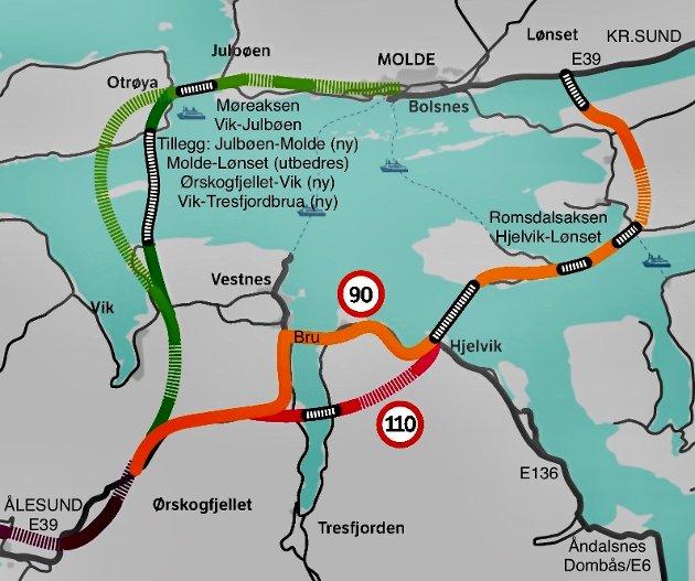 Kart: Statens vegvesen. Tillegg: Lars Valderhaug.  Flytebru til Otrøya og trasé til Hjelvik (110 km/t) er no uaktuelt grunna høge kostnader.