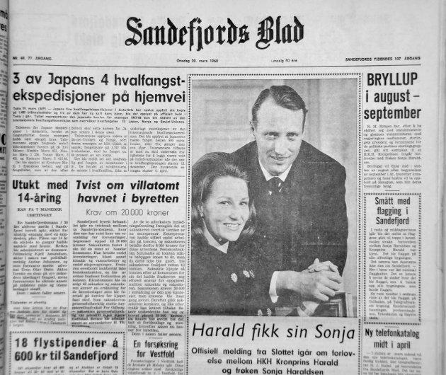 20. MARS 1968:  Harald fikk sin Sonja. Førstesiden i Sandefjords Blad for 50 år siden. Avisen meldte at bryllupet skulle stå i august- september.