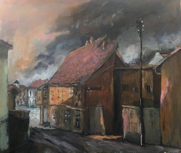 Dramatisk himmel over Drøbak vernesone (maleri Trudy M Wollbraaten 2018)