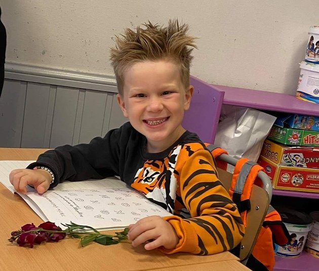 Kendrick i 1.klasse på Hurrød skole.