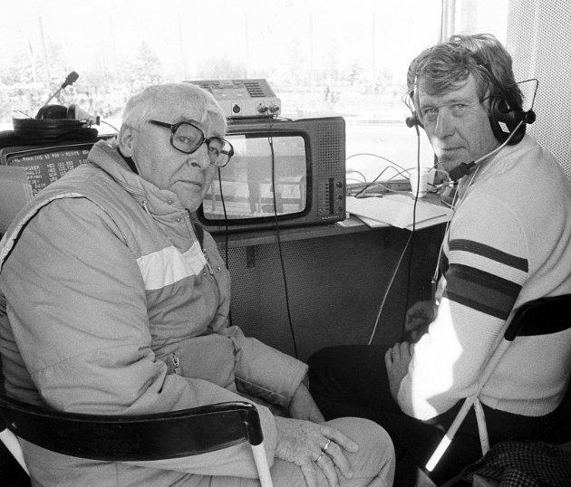RADARPAR: Per Jorsett og Knut Bjørnsen, tospannet som  var stemmene bak tallene, minuttene, sekundene og historiene fra utallige skøytemesterskap. Først på radio og etter hvert på fjernsynet.               Foto: NTB scanpix