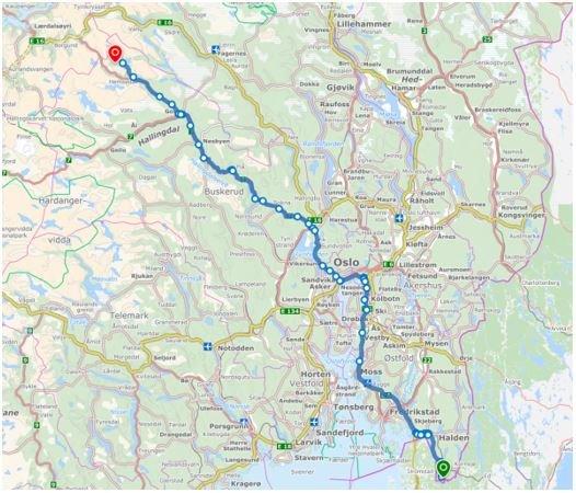 Diagonalen fra svenskegrensa til Sogn og Fjordane i nye Viken fylkeskommune er ca. 400 kilometer lang.