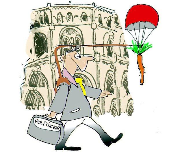 """Det er snodig hva politikere kan gjøre i """"god tro"""", sier en leser.  Illustrasjon: Jørn Grynnerup"""
