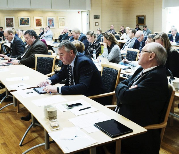 KLIMASPØRSMÅL: Framtiden i våre henders leder Anja Bakken Riise stiller her spørsmål til Trond Helleland og Martin Kolberg, de to er Buskerud-politikerne er her fotografert på Buskerudtinget.