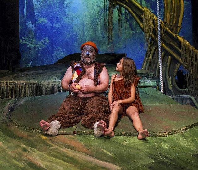 Linnea Selvik Hellesøy (Mowgli) og Knut Olav Elvik (Baloo) er to av de mest sentrale i klassikeren fra forfatter Rudyard Kiplings «Jungelboken». Torsdag hadde Fyllingsdalen teater premiere på musikalen.