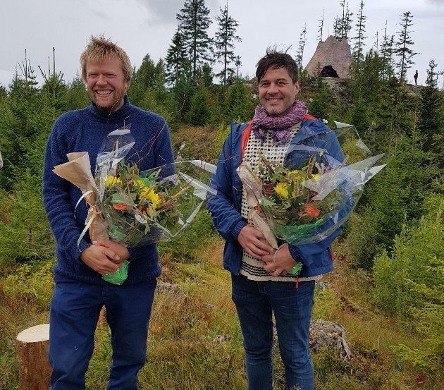 Kunstnerne i AiPotu ble hedret: Fv Andreas Siqueland og Anders Kjellesvik.