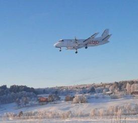 Air Leap inn for landing ved Røros lufthavn.