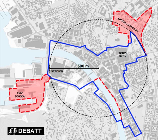 Dagens handelssentrum i blått og utkast til ny begrensning i rødt der dokka på FMV og Grønli stasjon kommer i tillegg. Illustrasjon: Griff Arkitektur
