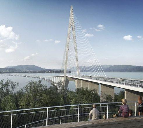 Nye E39, Hordfast, skal sikra ferjefri veg mellom Stord, Tysnes, Os og Bergen. llustrasjon: Statens vegvesen