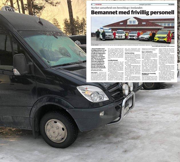 Artikkel: Sykehuset Innlandet sendte ut en pressemelding om samarbeid med Røde Kors og Norsk Folkehjelp. Det fikk styret i Valdres Taxi Regionsentral AS til å reagere.