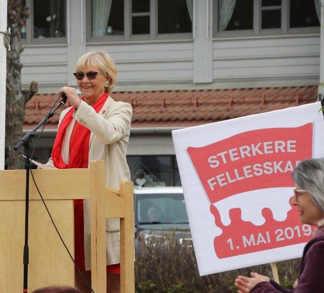 Randi Eek Thorsen var hovedtaler under 1. mai arrangementet i Brandbu i 2019. I år ble det en digital apell.