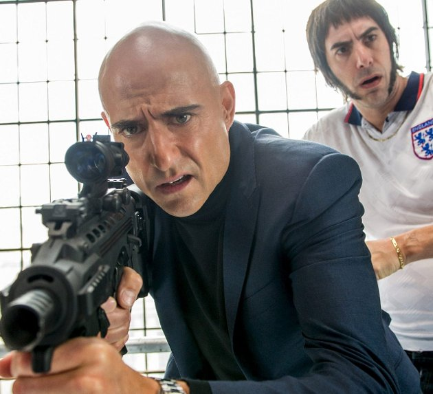 Hysterisk: «Grimsby» med Mark Strong (til venstre) og Sacha Baron Cohen.Foto: filmweb.no