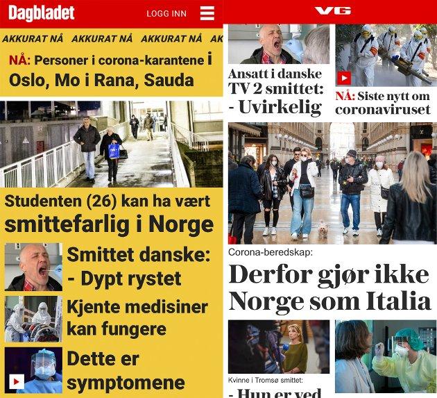 OMFATTENDE DEKNING: Alle de nasjonale nettavisene kjører store oppslag om koronaviruset. Dette er skjermdump av forsidene til Dagbladet og VG torsdag formiddag.