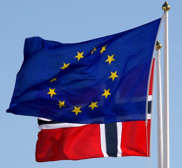 STRØMSTAD, Sverige 20090909. NASJONALPARK. Det norske flagget i bakgrunnen av EU-flagget under åpningen av nasjonalparkene på Ytre Hvaler og Kosterhavet i Sverige. Foto: Lise Åserud / Scanpix