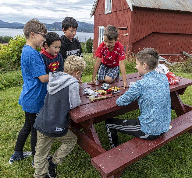Lek: Gylve Aasen forsøker å lure Storm Elias Finnøy, Jannik Matthes, Tormod og Kim Aasen og Martinus Røbech Pedersen.