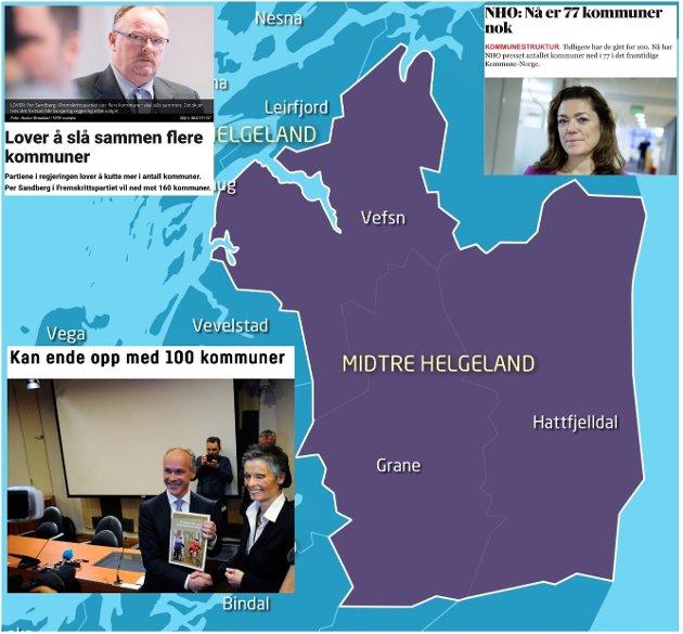 Uten et regjeringsskifte forsvinner Bindal ut av fylket mens folk fra Hattfjelldal og Grane i henhold til blå-blå karttegning må belage seg på å bli administrert fra Mosjøen