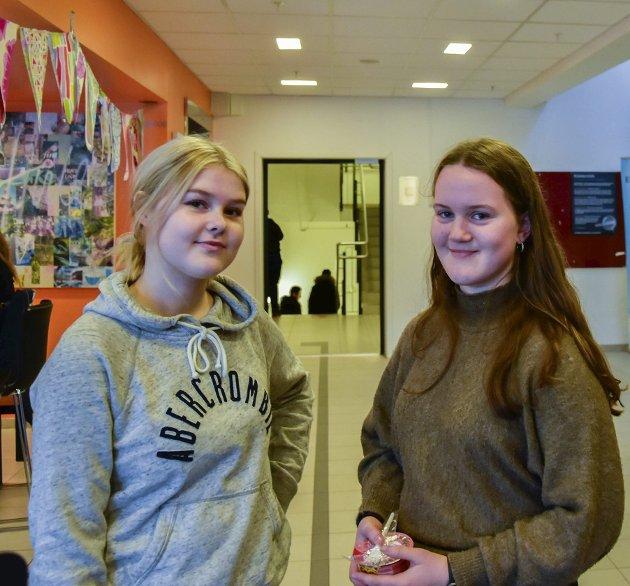 USIKRE: Lone Gundersen (15) fra Mysen og Elida Minge (16) fra Trøgstad er usikre på om de kommer til å ta vaksinen. – Om den testes mer og de vet at den er sikker, så kommer jeg til å ta den, sier Gundersen. – Det kan hende at det blir påbudt da, legger Minge til.