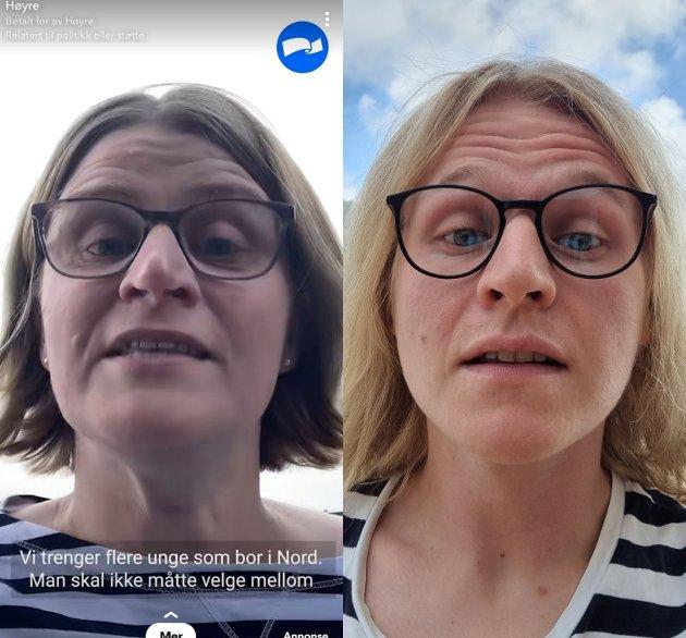 LIKT: (t.v) Stortingskandidat for Nordland Høgre, Marianne Dobak Kvensjø. (t.h.) Journalist i Sogn Avis, Anders Huke