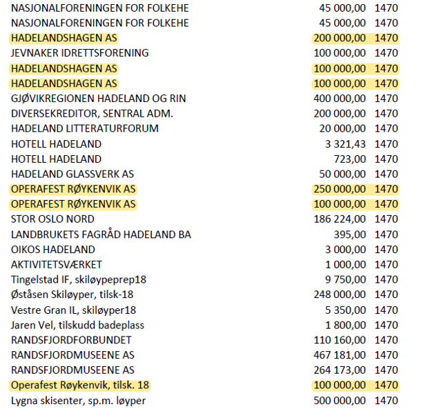 Dette er et utdrag av listen over tilskudd fra Gran kommune i fjor. Listen ble oversendt fra Gran kommune i november 2018.
