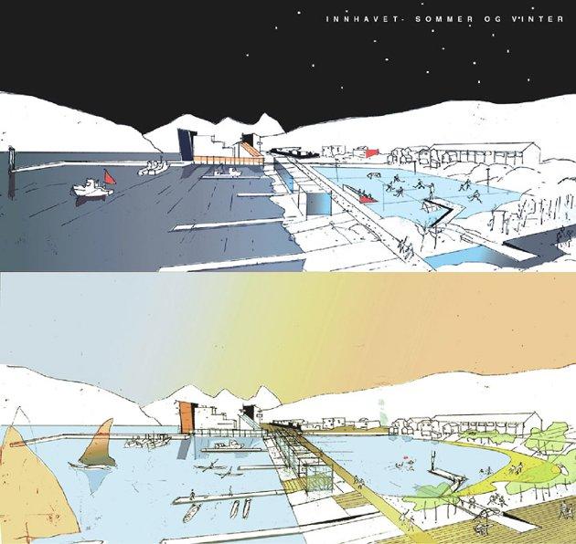 «INNHAVET»: En kunstig innsjø skulle fungere som skøytebane på vinteren og badeplass med tilhørende sandstrand på sommeren.