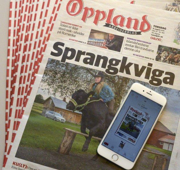 KAN UTEBLI: På grunn av postomleggingem er det cira 100 abonnementer vi fortsatt sliter med å få ut avisen til hver dag , men  heldigvis er OA  tilgjengelig døgnet rundt  digitalt.