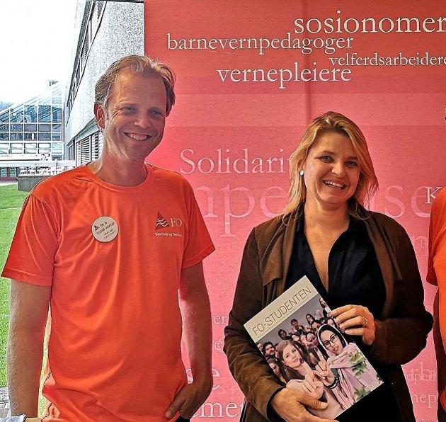 Fylkessekretær Vidar Byholt og fylkesleder Lise Holm FO Vestfold.