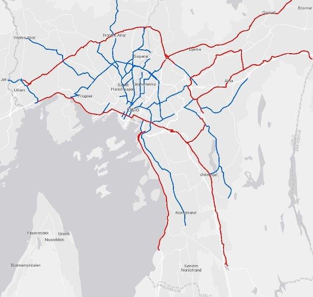 Helårsdrift av sykkelruter i Oslo kommune. Rød = vedlikeholdt av Statens Vegvesen, Blå = vedlikeholdt av Oslo kommune
