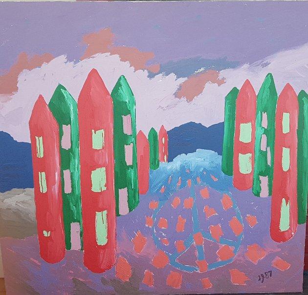 """""""Fredsbyen"""", akryl på lerret, 1987, av Ivar Jørdre"""