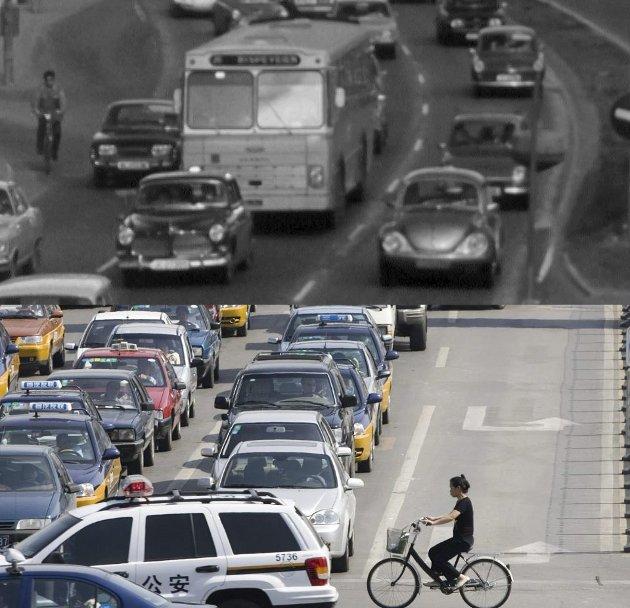 Før og nå: Massebilisme på 1990 tallet og 1960 tallet. Foto: NRK bildearkiv