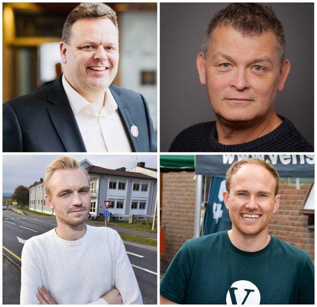 POSISJONEN SPRAKK: Trond Bermingrud (Frp), Kjell Erland Grønbeck (Krf), Adrian Tollefsen (H) og Andreas Størdal (V) forteller hvordan veien videre vil være for opposisjonen.