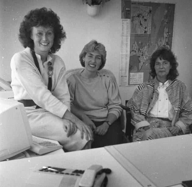 Moss Vikarservice A/S. Lisbeth Omvik, Anne Marit Musk og Ellen Jegersberg, 1988.