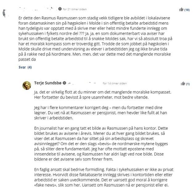 Å fornekte fakta er en skummel utvikling. Her har media en meget viktig jobb å gjøre, mener Rasmus Rasmussen. Skjermbildet viser et eksempel på det Rasmussen mener er ondsinnet løgn og som gjentas gang etter gang. (TK har fjernet navn på innsenderen).