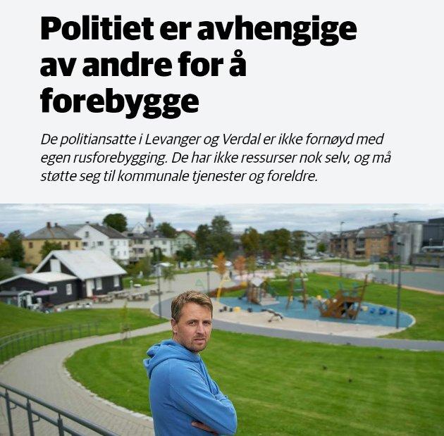 FAKSIMILE: Trønder-Avisa har skrevet flere innlegg om økning i rusrelaterte saker som omhandler barn ned i 14-årsalderen. Lensmannskontoret i Levanger ble for flere år siden slått sammen med, og lokalisert i, Verdal.