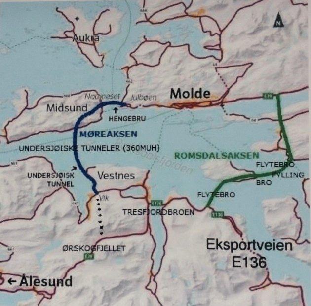 Romsdalsaksen (grønn farge) og Møreaksen (blå farge). Ill.: Terje Finnøy