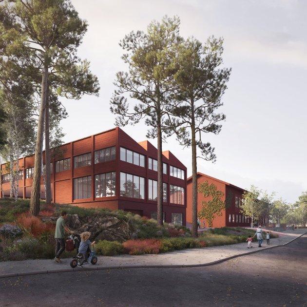 I fremtiden kan kanskje Nesoddtangen se omtrent ut som dette? Arkitektkontorene Oslo Works og Sanden + Hodnekvam har utarbeidet denne skissen.