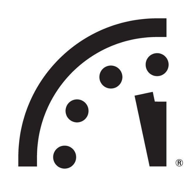 Dommedagsklokka viser 100 sekunder på tolv