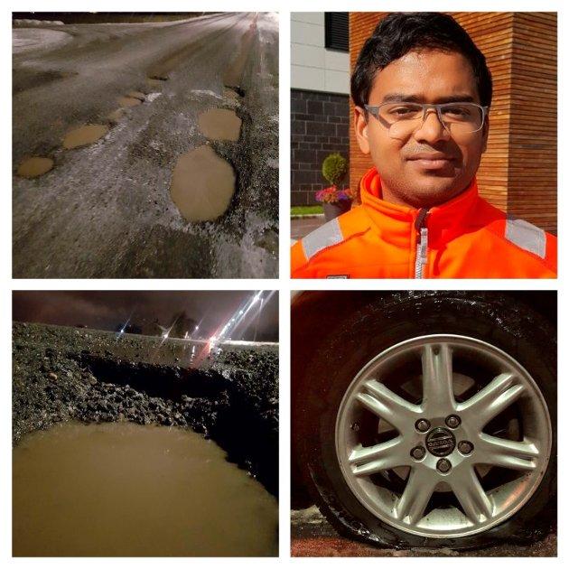 REGNINGEN: Ikke uten videre gitt at bileier skal betale for skader fra hullene på fv 312, skriver innsenderen. På bildet Mizanur Rahaman i Statens vegvesen.